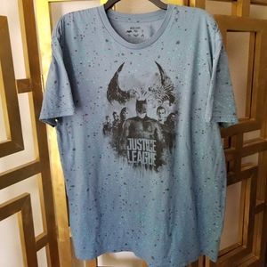Justice League Blue Splatter Short Sleeve Shirt XL